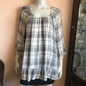 Style & Co White Plaid Ruffle Blouse Top Large